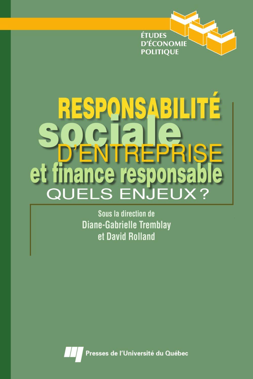 Responsabilité sociale d'entreprise et finance responsable