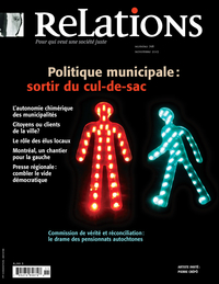 Image de couverture (Relations. No. 768, Octobre-Novembre 2013)