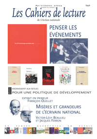 Les Cahiers de lecture de L'Action nationale. Vol. 8 No. 1, Automne 2013