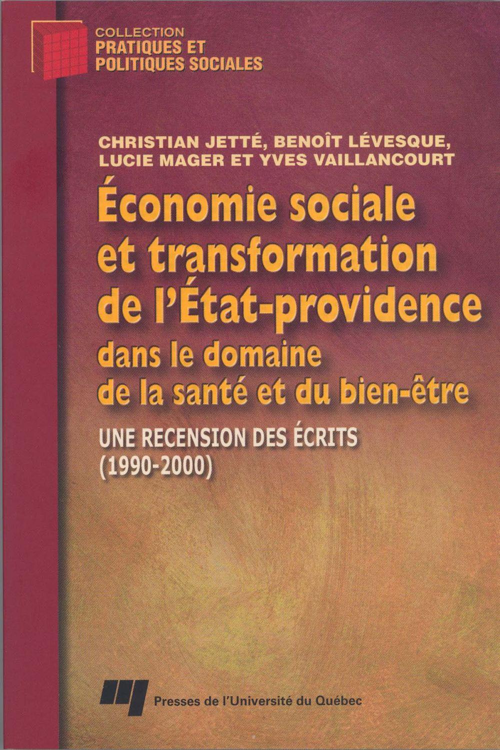 Économie sociale et transformation de l'État-providence dans le domaine de la santé et du bien-être