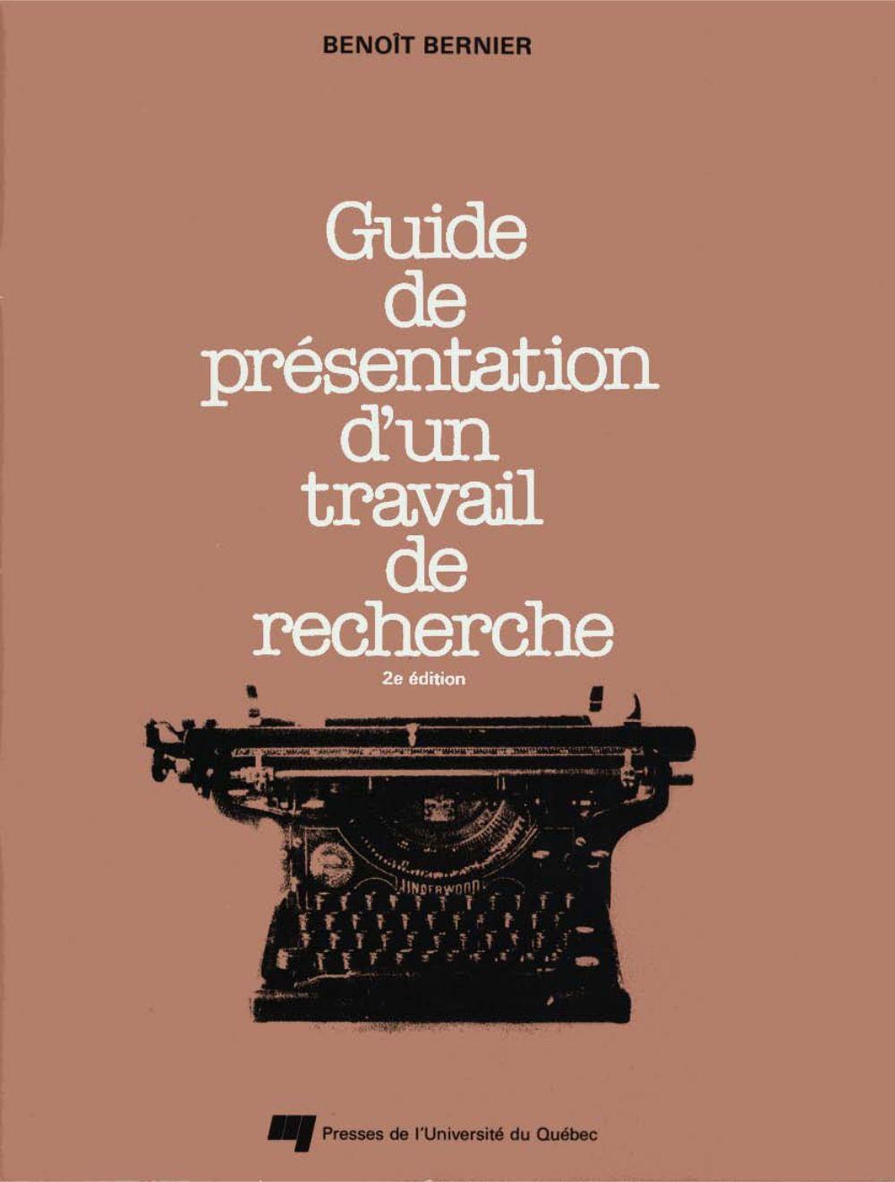 Guide de présentation d'un travail de recherche