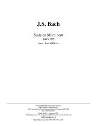 Suite en Mi mineur, BWV 996