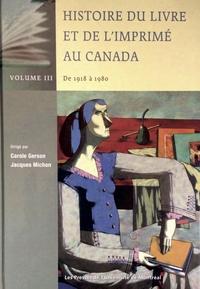Histoire du livre et de l'imprimé au Canada vol. III