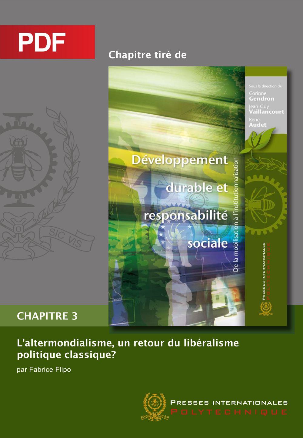 L'altermondialisme, un retour du libéralisme politique classique? (Chapitre PDF)