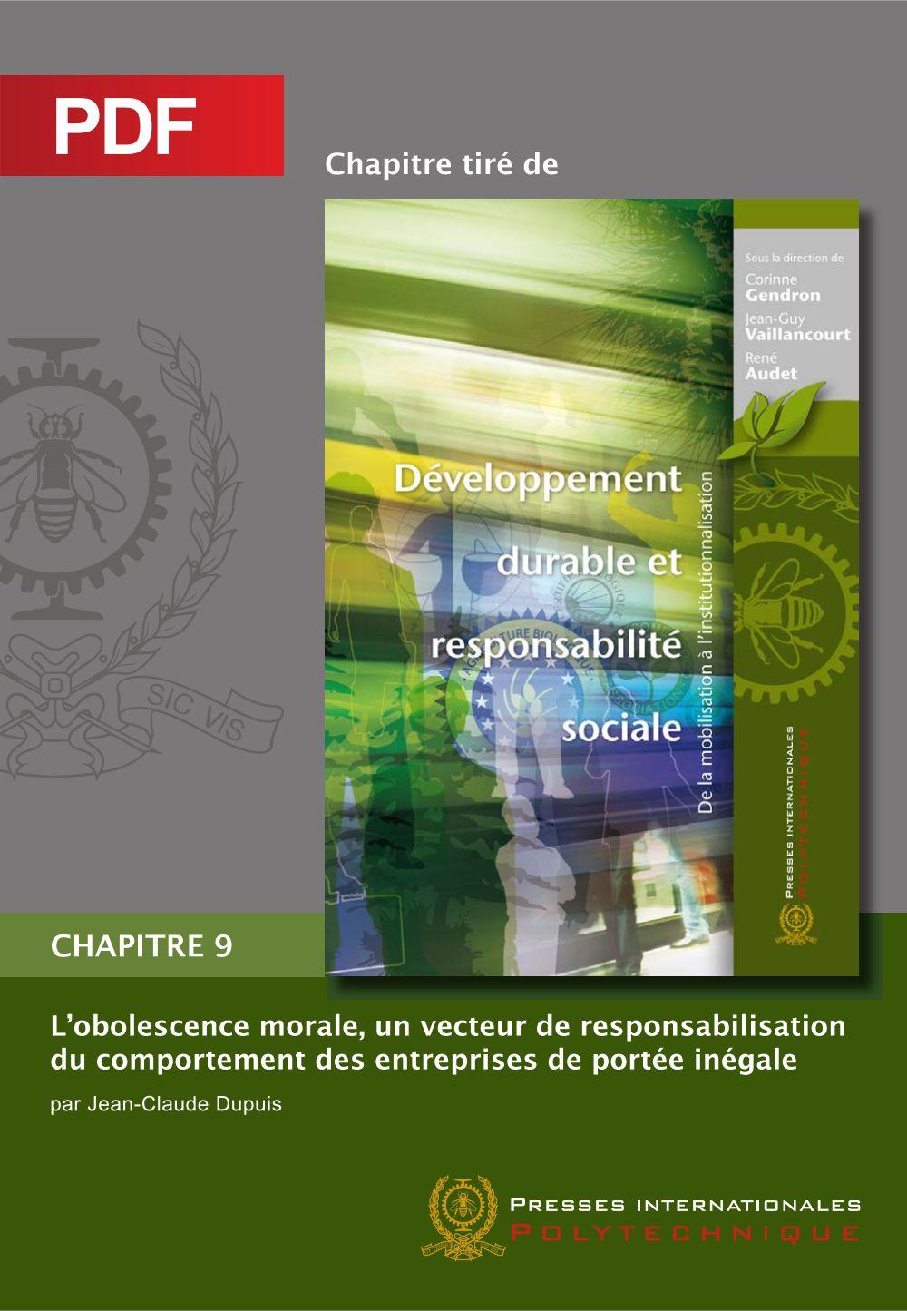 L'obsolence morale, un vecteur de responsabilisation du comportement des entreprises de portée inégale (Chapitre PDF)