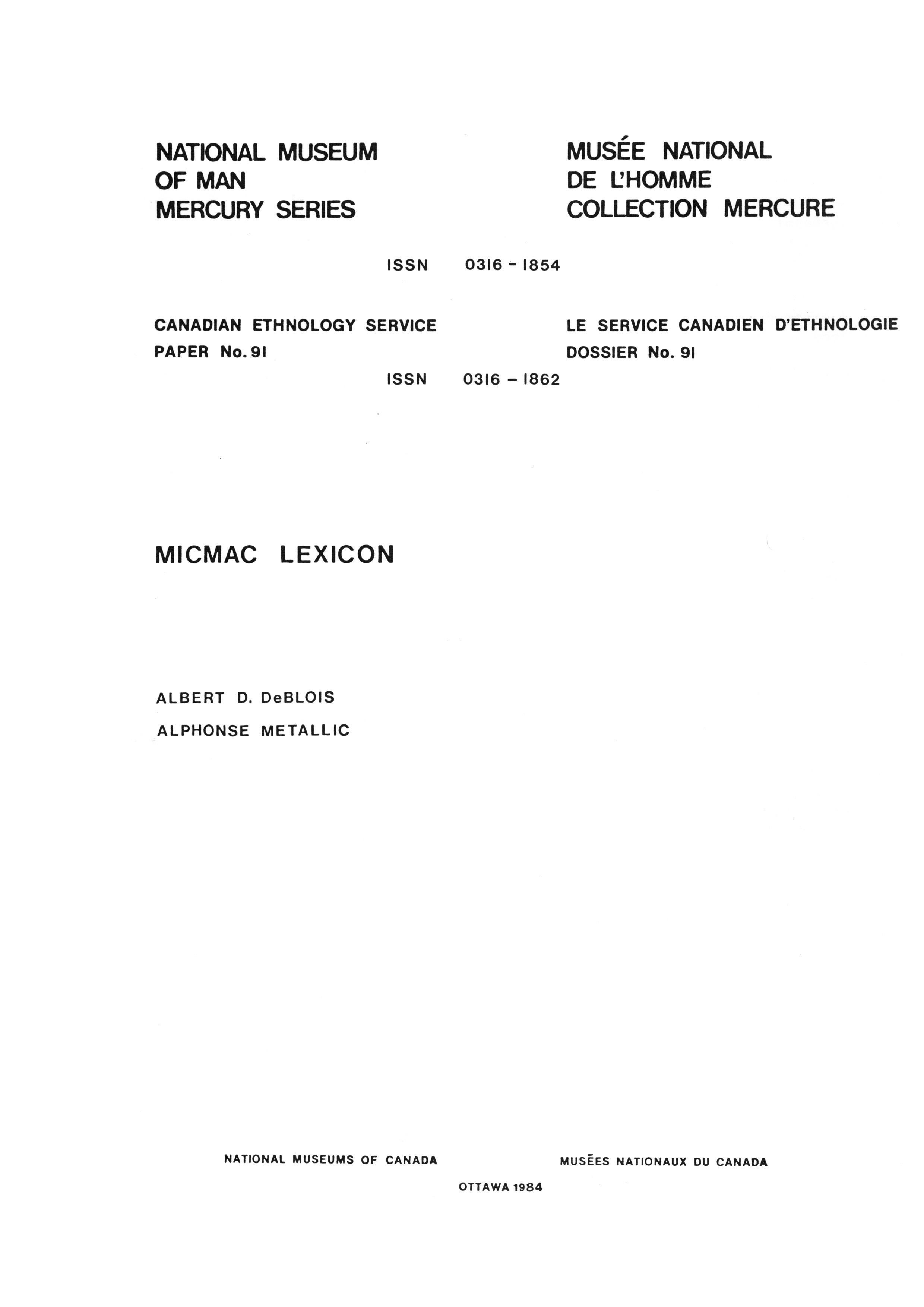 Micmac lexicon