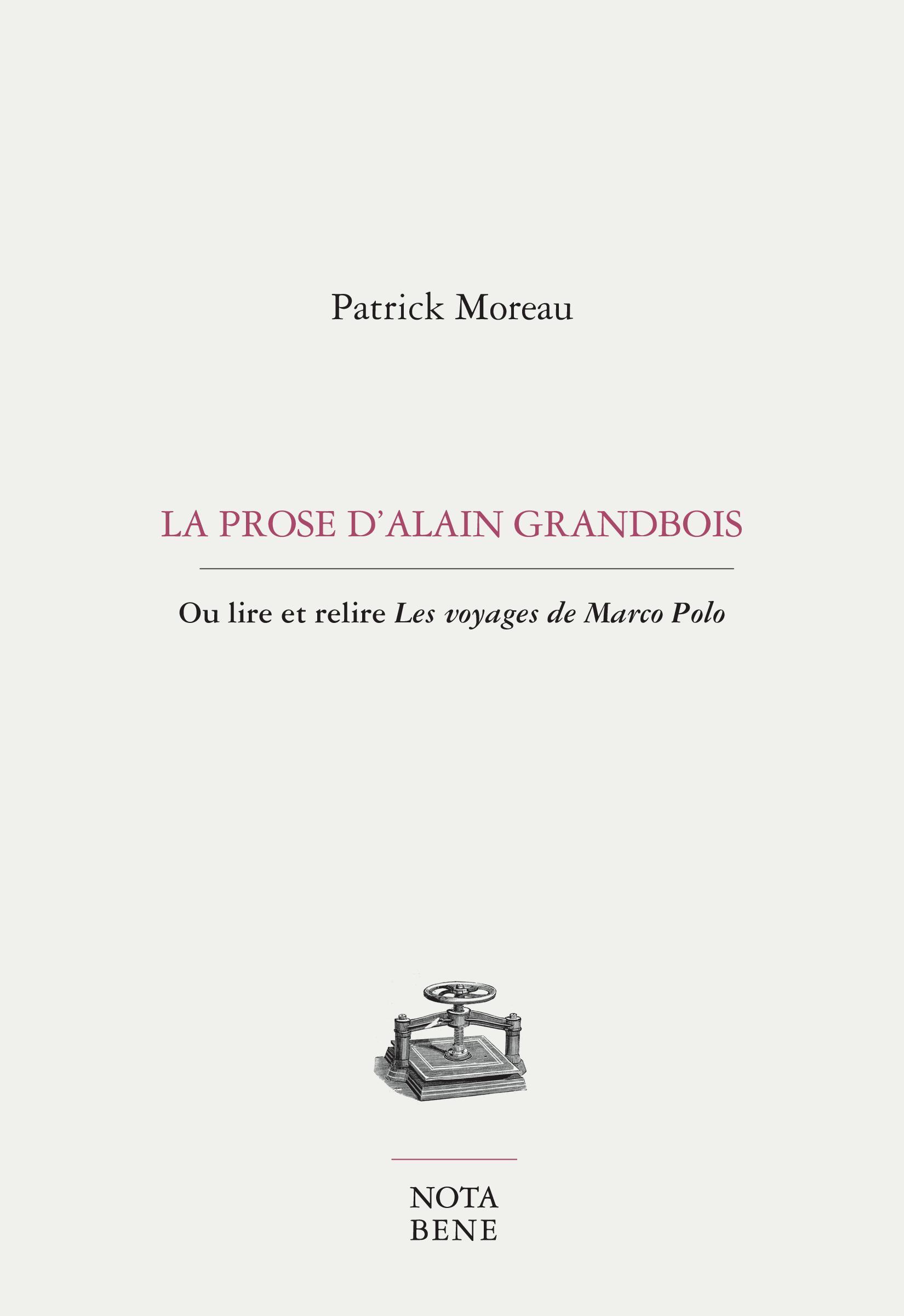 La prose d'Alain Grandbois