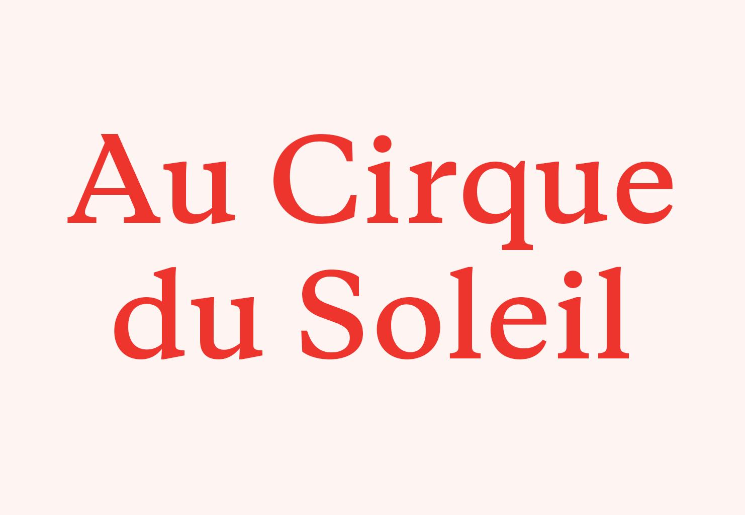 Au Cirque du Soleil