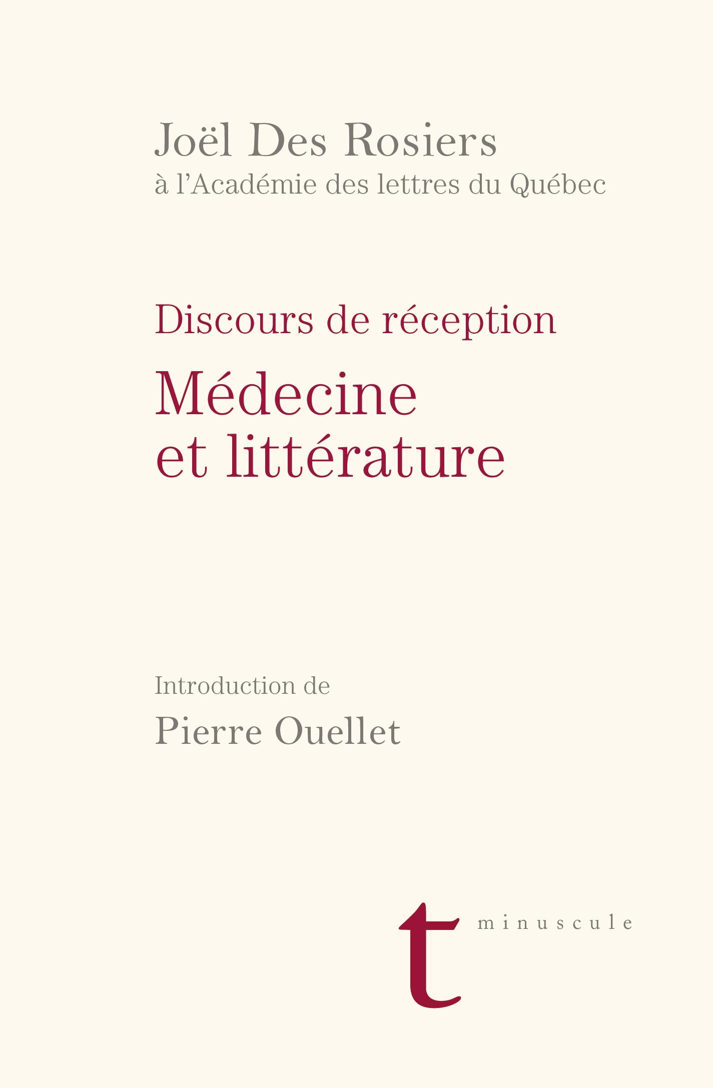 Discours de réception à l'Académie des lettres du Québec