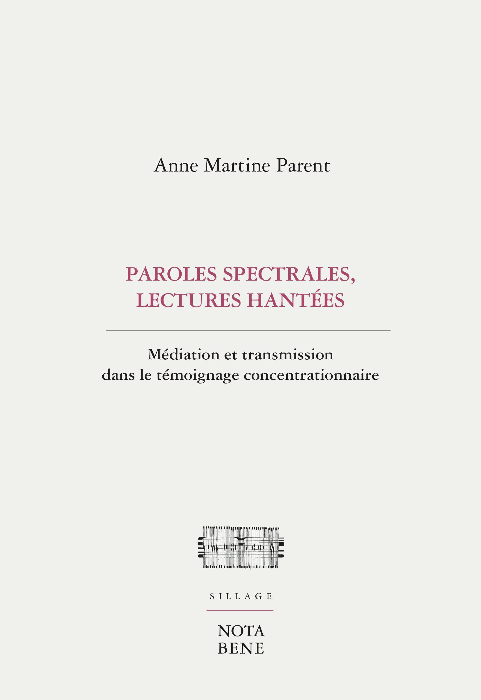 Paroles spectrales, lecture...