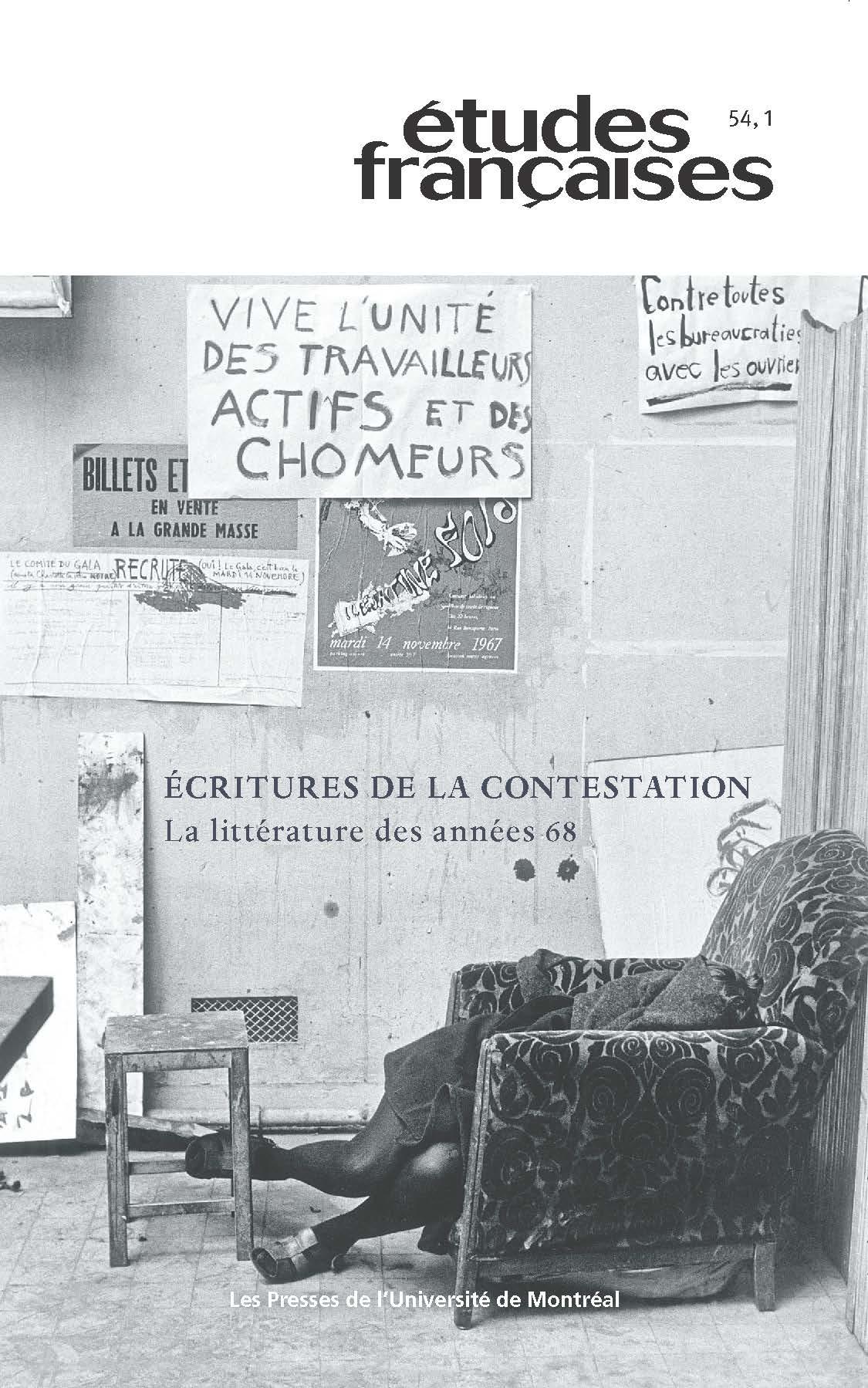 Études françaises, vol. 54 no 1 (2018)