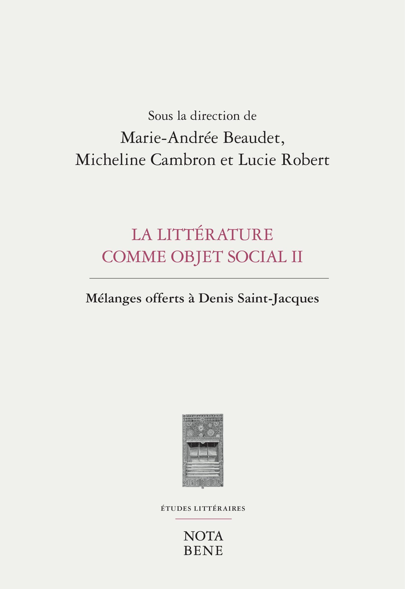 La littérature comme objet social II