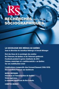 Recherches sociographiques. Vol. 58 No. 1, Janvier-Avril 2017