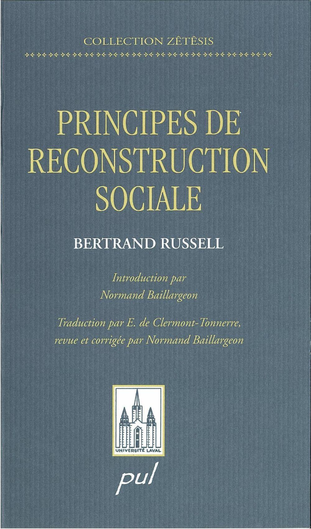 Vignette du livre Principes de reconstruction sociale Les