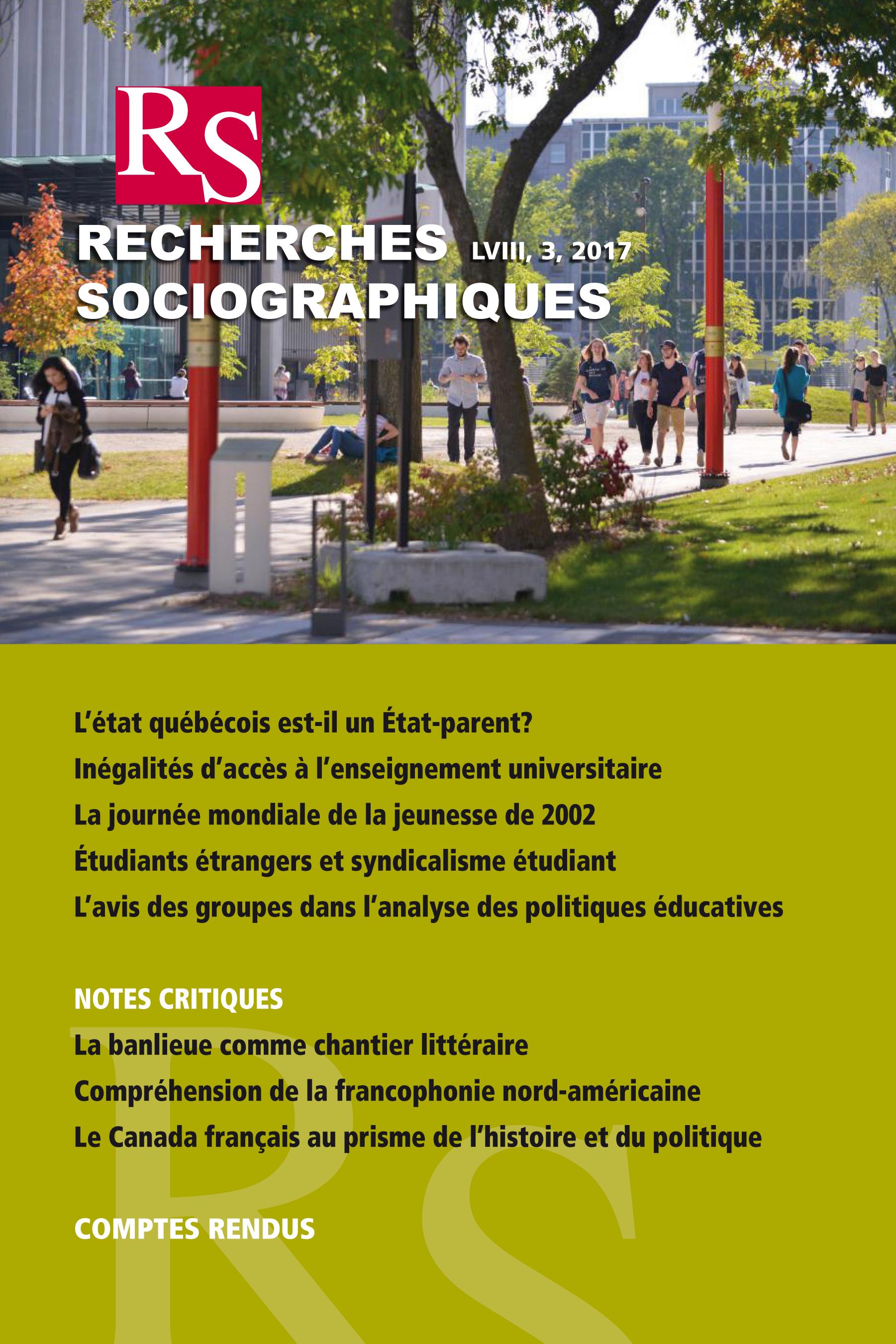 Recherches sociographiques. Vol. 58 No. 3, Septembre–Décembre 2017